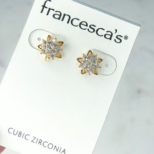 Francescas Boutique Diamond Gold Star Earrings